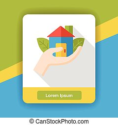 Environmental protection concept flat icon; green house