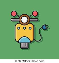 Environmental protection concept green motorcycle icon