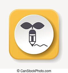 Environmental protection concept green pencil icon