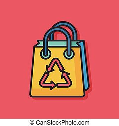 Environmental protection concept recycled shopping bag icon