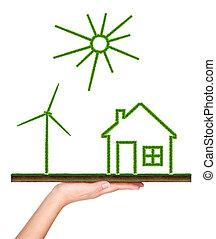 Environmental protection concept - Green grass house,...