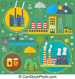 Environmental Protection, Ecology concept Banners Set in modern Flat Style. Ecology Green Energy and save planet infographics design, web elements, poster banners. Vector illustration.