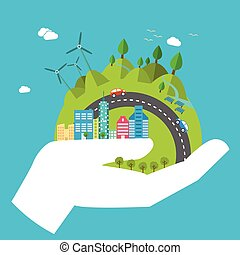 Environmental protection, ecology concept in flat style. Vector illustration. Hands holding Earth with ecology symbols. Eco-city, green energy, wild nature concept. Solar panels.