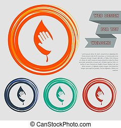 environmental protection icon on the red, blue, green, orange buttons for your website and design with space text. Vector