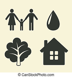 environmental protection icons - vector illustration