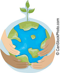 Environmental Protection - Illustration Featuring Hands with...