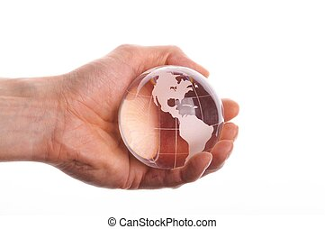 environmental protection or business concept with glass...