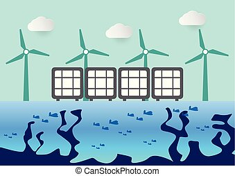 Environmental scene with wind turbines and solar panels on the river.