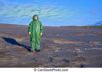 Environmental scientist in zone of ecological disaster