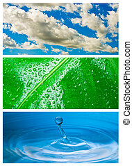 Environmental theme abstract background - gray clouds and blue sky, green leaf with rain drop, blue water drop splash in water.