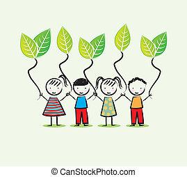 environmentalists children over white background vector illustration