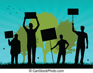 environmentalists, vectors, protest-outdoor, illustration