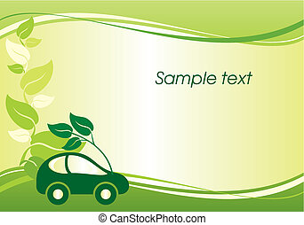 vector background with the image of environmentally friendly car