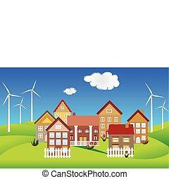 Environmentally conscious town on green hills