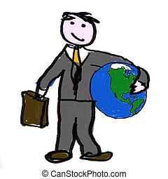 A business man holding the globe