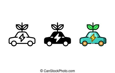 Environmentally friendly car icon represented by an electric powered car