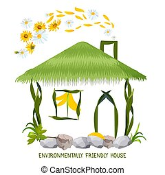 Environmentally friendly house in cartoon style. Country cottage