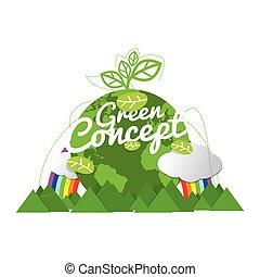 Environmentally Friendly Planet Green Concept Vector Illustration