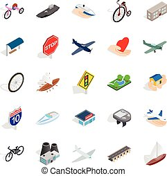 Environmentally friendly vehicle icons set, isometric style...