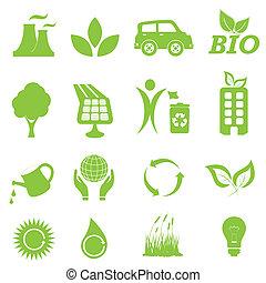 environnement, écologie, ensemble, icône