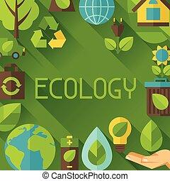 environnement, écologie, fond, icons.