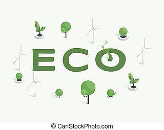 environnement, énergie, vert, template., arbres, affiche, technologie, design., puissance, illustration, concept, mot, vent, vecteur, industrie, alternative, eco, amical, bannière, sources, usage, idée, isométrique, turbines