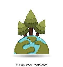 environnement, concept, globe, graphique, icône