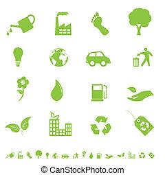 environnement, eco, icônes