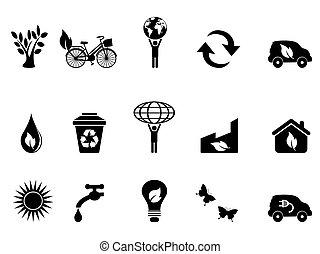 environnement, ensemble, noir, icône