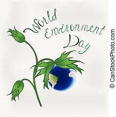 environnement, eps10, flower., formulaire, day., vecteur, mondiale, la terre, illustration.