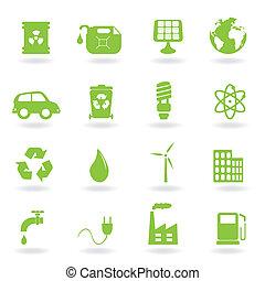environnement, et, eco, symboles