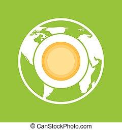 environnement, globe, graphique, chauffage, icône