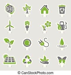 environnement, icônes, autocollant, ensemble