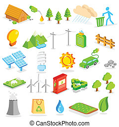environnement, isométrique, icône