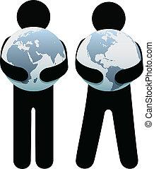 environnement, la terre, étreinte, tenue, gens