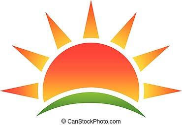 environnement, logo, résumé, vecteur, soleil