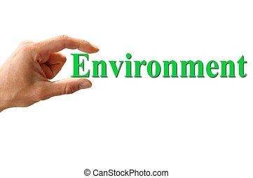 environnement, mot, tenant main