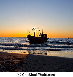 environnement, pêcheur, ciel, coucher soleil, bateau