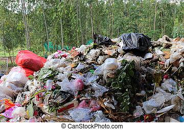 environnement, tas, pollution, conjugal, déchets