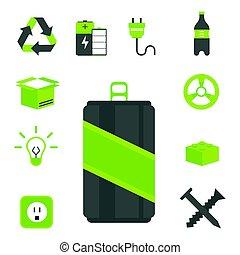 environnement, tri, illustration., protection, icônes, recyclage, créatif, symboles, vecteur, gaspillage, nature