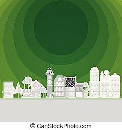 environnement, trou, vert, propre, village
