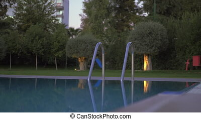 environs, vert, piscine, vide, natation