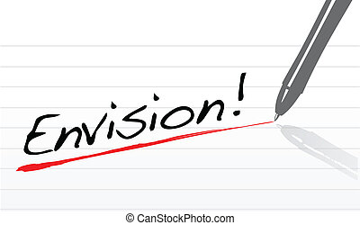 envision text written on a white notepad paper