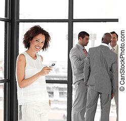 envoi, business, message texte, femme