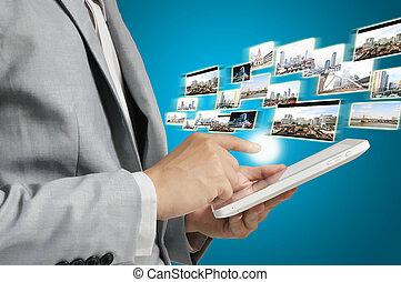 envoi, business, tablette, image, ruisseler, tenue, réception, ou, homme