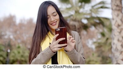 envoi, femme, texte, jeune, message, heureux