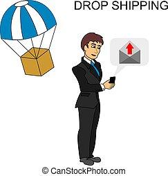 envoi, goutte, homme affaires, sur, smartphone, concept., expédition, e-mail, package.