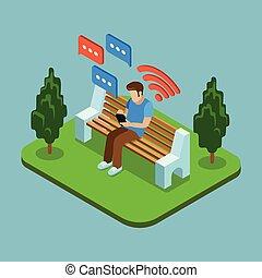 envoi, isométrique, séance, messages, parc, jeune, illustration, vecteur, homme, smartphone., 3d