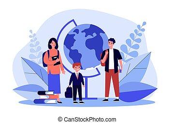 envoi, leur, parents, écolier