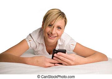 envoi, message, femme, texte